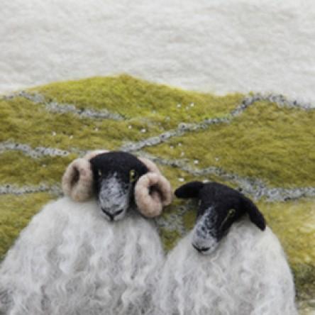A New Print - 2 Black Faced Sheep – Felt Art Mini-Print