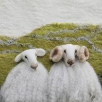 A New Print - 2 White Faced Sheep – Felt Art Mini-Print