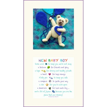 Blue Teddy and New Baby Boy Twin Frame