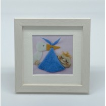 Baby Boy Stork - Felt Art Mini Print