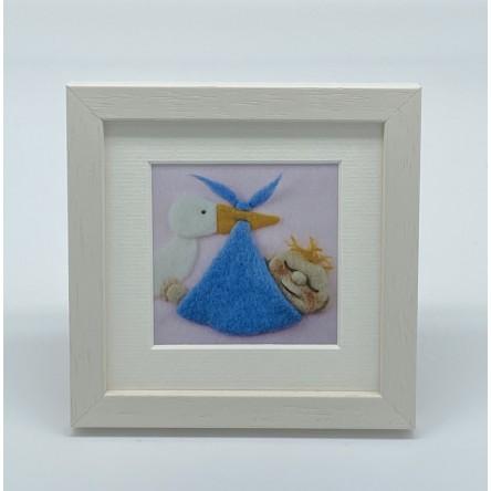 Baby Boy Stork - Felt Art Mini Print