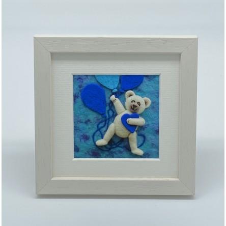 Baby Boy Teddy - Felt Art Mini Print
