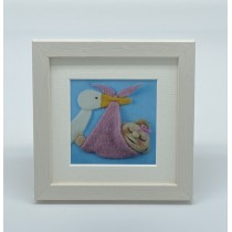Baby Girl Stork - Felt Art Mini Print