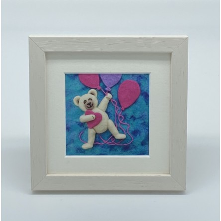 Baby Girl Teddy - Felt Art Mini Print