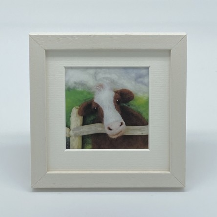 Cow - Felt Art Mini Print