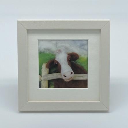 Cow - Felt Art Mini Print