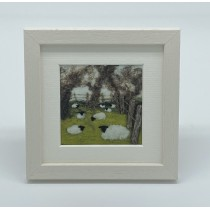 Fenced Sheep - Felt Art Mini Print