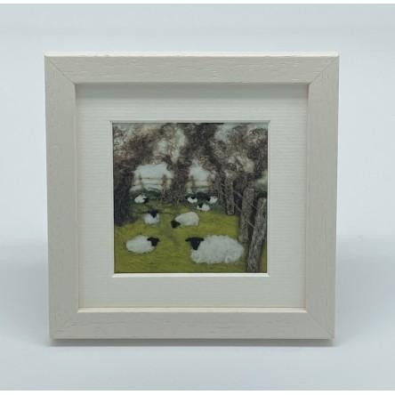 Fenced Sheep - Felt Art Mini Print