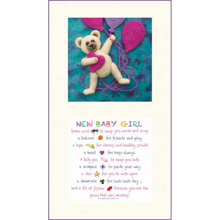 Pink Teddy and New Baby Girl  Twin Frame