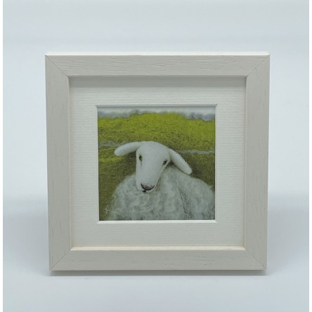 One White Sheep - Felt Art Mini Print