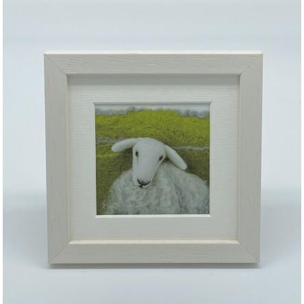 One White Sheep - Felt Art Mini Print