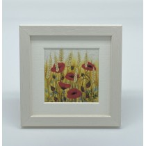 Poppies and Wheat - Felt Art Mini Print