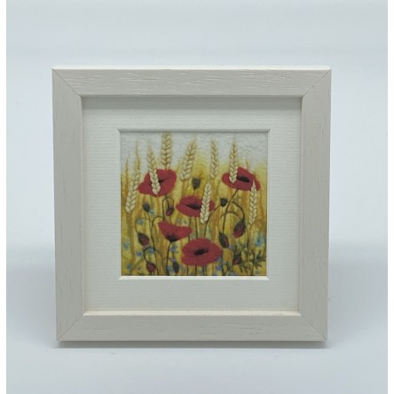 Poppies and Wheat - Felt Art Mini Print