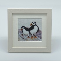Puffins - Felt Art Mini Print