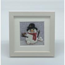 Snowman - Felt Art Mini Print