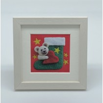 Teddy Stocking - Felt Art Mini Print