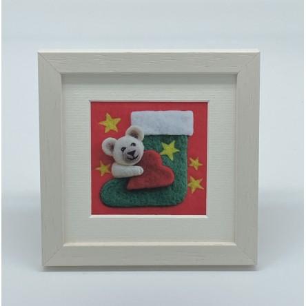 Teddy Stocking - Felt Art Mini Print