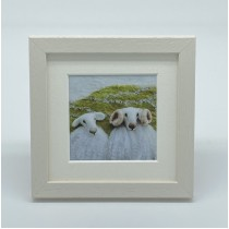 Two White Sheep - Felt Art Mini Print