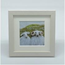 Two White Sheep - Felt Art Mini Print