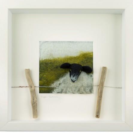 Black Faced Sheep Felt Art