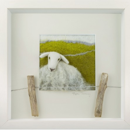 White Faced Sheep Felt Art