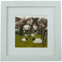 Fenced Field - Felt Art Mini-Print