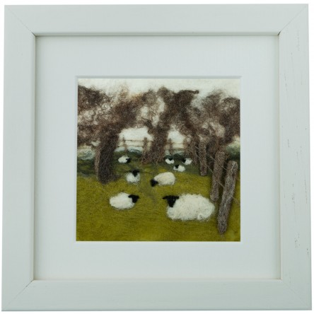 Fenced Field - Felt Art Mini-Print