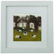 Sheep in the Field – Felt Art Mini-Print