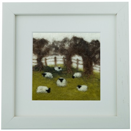 Sheep in the Field – Felt Art Mini-Print