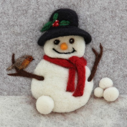 Christmas Snowman - Felt Art Medium-Print