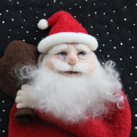 Christmas Santa - Felt Art Mini-Print